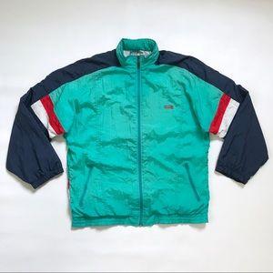Vintage 80s 90s Windbreaker Jacket Large Teal Red